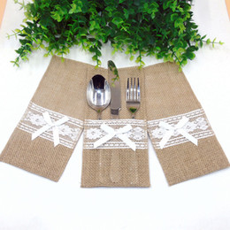 vintage cutlery holder 2019 - Burlap Cutlery Holder Vintage Shabby Chic Jute Lace Tableware Pouch Packaging Fork Knife Pocket Party Decoration Home Te