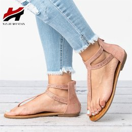 NAN JIU MOUNTAIN Shoes Woman Summer Beach Open Toe Flat Comfortable Sandals  Women s Shoes Rhinestones Plus Size 35-43 450419398cb7