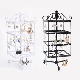Jewelry Rotate Display Canada - Wholesale High Quality Black White Rotating Metal Earring Display Stand Holder Rack For 128 Holes
