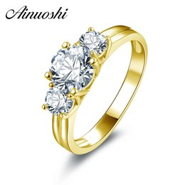 Discount yellow gold engagement ring designs - AINUOSHI 10k Solid Yellow Gold Ring Luxury Design Bague 3 Stones 1ct Round Cut Simulated Diamond Rings Real Gold Wedding