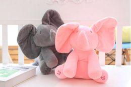 elephants baby 2018 - 30cm Plush Elephant Dog Doll Peek A Boo Hide Seek Elephant Toy PEEK-A-BOO Singing Baby Music Toys Ears Flaping Move Funn