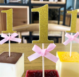 Chinese  First Birthday 1st Year Cupcake Toppers with Glitter Paper Boy Girl DIY Birthday Party Cake Decoration Supply manufacturers