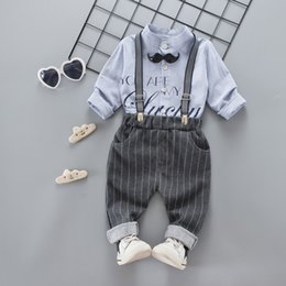 $enCountryForm.capitalKeyWord Australia - Spring Toddler kids outfits 2018 new boys beard tie letter printed round collar long sleeve shirt+casual stripe suspender pants 2pcs sets R2