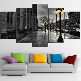 $enCountryForm.capitalKeyWord UK - 5 Panels,Black White Wall Art London City Streetscape Canvas Oil Painting HD Print Wall Art Decor for Living Room Decoration Framed Unframed