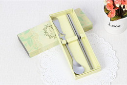 heart shaped knife Australia - 80 Sets Wedding Favors Gifts Heart Shape Stainless-Steel Fork Spoon Chopsticks 2 Pieces in One Set