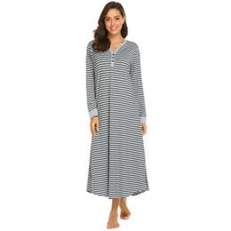 8ae9d7e2c1 Women Long Nightdress Chemise Nightgown Casua Long l Sleeve V Neck Stripe Sleepwear  Nightgown Female Sleepshirts