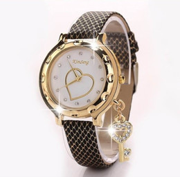 China 2018 Key Heart Bracelet Watches Women Leather Crystal Quartz Wrist Watch Gold Clock Relojes Mujer Relogio Feminino Montre cheap wholesale gps watches suppliers