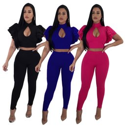 $enCountryForm.capitalKeyWord Canada - 2018 In Stock Black Blue Fuchsia Two Pieces Women Tracksuits High Neck Hollow Out Bust Ruffles Short Sleeves Short Top and Long Pants