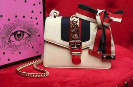 Gusset Bags Australia - 5A Women 431666 19cm Sylvies Leather Mini Chain Shoulder Bag,Grosgrain Sylvie Web bow with Stars,,Exterior Gusset,with Box Dust Bag
