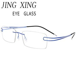 68c3da147f3 Discount titanium alloy eyeglasses frame - New Arrival 9 colors fashion rimless  glasses frame memory Alloy
