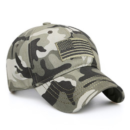 New Men USA Flag Camouflage Baseball Cap Army Embroidery Cotton Tactical  Snapback Dad Hat Male Summer Sports America Trucker Cap 7440d10d3732