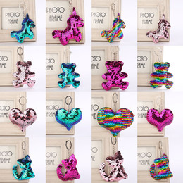Star metal key ring online shopping - 72 styles Flamingo star unicorn Heart Keychain Glitter Mermaid Sequins Key Ring Gifts for baby Charms Car Bag Key Chain Party Favor C5465
