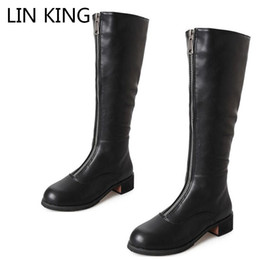 king plush NZ - LIN KING Black Zipper Women Long Boots Warm Plush Winter Motorcycle Boots Square Heel Knee-High Botas Punk Ladies Knight