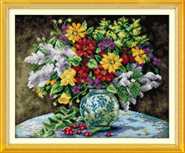 handmade flower vases NZ - Colorfull flower vase home decor paintings ,Handmade Cross Stitch Embroidery Needlework sets counted print on canvas DMC 14CT  11CT
