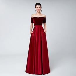 88d36d70644 2018 Real red Velvet evening dresses plus size off shoulder short sleeves  bateau neck satin floor length formal evening prom party gowns
