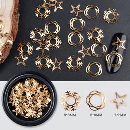 Discount snow nails - Nail art metal hollows Ultra thin sequins christmas snowflake star snow flower round shape DIY 3D nail art decoration MZ