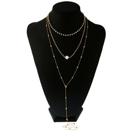 China New Golden Sexy Necklace Multilayer Long Alloy Faux Pearl Pendant Body Chain Jewelry Wholesale cheap pendants sexy suppliers