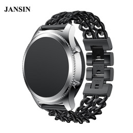 Discount pebble steel band JANSIN 22mm Stainless Steel WatchBand replacement strap For Samsung Gear S3 Frontier S3 Classic  Pebble Time Steel ASUS