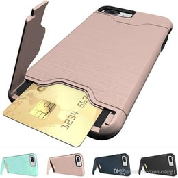 Hot Sales Iphone Case NZ - Hot Sale Shockproof Brushed Card Pocket Kickstand Hybrid Protective Case Cover for IPhone 8 7 7plus Iphone 6 6S Plus E49