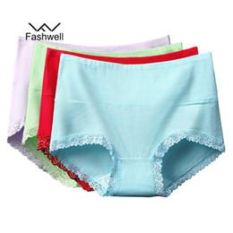 782b1039e33 Fashwell Plus Size Women s Panties Sexy Soft Female pure High Waist Solid  Color Women Cotton Lace Briefs 4 Pcs lot