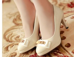 fine princess shoes UK - Free send 2018 spring and autumn new style Korean bowknot Princess round head high heel shallow mouth Fine heel women shoes