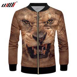 5c932fb561a4 UJWI Men s Autumn Loose Coat Brown Animal Tiger Zip Jacket 3D Printed Plush  Pattern Plus Size 5XL Clothing