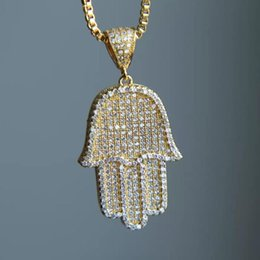 Gold hamsa necklaces online shopping - New high quality hip hop bling box chain quot women Men couple gold silver color iced out Hamsa hand pendant necklace with cz