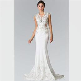 0e81d9d500b 2018 Luxury White Satin Mermaid Wedding Dresses Jewel Hollow Back Wedding  Gowns Custom Made Simply Sweep Train Beads Crystals Bridal Dresses