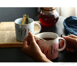Tea lovers gifTs online shopping - Marble Ceramic Coffee Mug Mr And Mrs Letter Designer Cups Couple Lover Theme Tea Tumblers For Valentine Day Gifts se ZZ