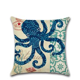 China Wholesale 7 Styles Household 45*45cm Sea Creature Pattern Linen Cushion Covers Bedroom Seat Christmas Gifts Home Decor Party Decoration cheap wholesale decoration sea suppliers