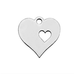 necklaces pendants UK - 30Pcs Lot Stainless Steel Fashion Love Heart Charms Pendant Heart Shape Jewelry Making DIY Charm Handmade for Necklace