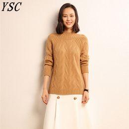 2a84b88d6ef8 2018 invierno Nuevo estilo de punto de mujer cachemir suéter puro medio  collar alto Color sólido de alta calidad cláusula suelta suelta pullover