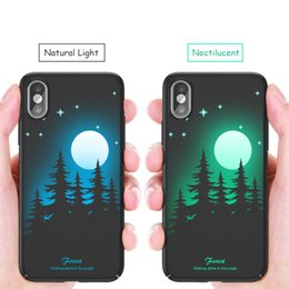 luminous shells cases for iphone UK - Luminous Back Case for iPhone X Glow in the Dark 3D Relief Painting Fluorescent Color Changing Hard Case Cover Slim Protective Back Shell