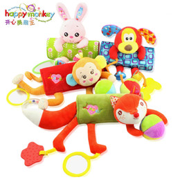 monkey beds 2019 - Wholesale-HAPPY MONKEY Infant Plush Toy Strap Doll Stroller Pendant Toy Bed Strap animal toys bed hanging appease toys W