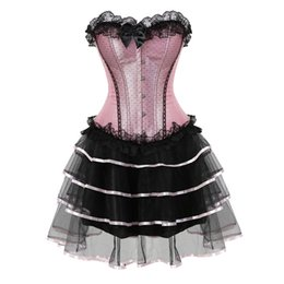 Discount sexy tutus for women - lace sexy corsets for women plus size costume overbust burlesque corset and skirt set tutu corselet victorian fashion go