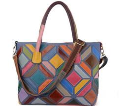 $enCountryForm.capitalKeyWord Canada - 2018 women's color block handbag big capacity cowhide leather women's shoulder bag portable genuine leather handbag tote bag