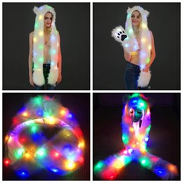 d4f5935be54e0 Women LED Faux Fur Hat Light Up Hood Animal Hat Wolf Plush Warm Animal Cap  With Scarf Gloves Party Outdoor LED Scarf Mittens Hats MMA745