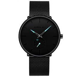 3586cc79f074 Reloj negro para hombre ultra fino Reloj de pulsera de lujo minimalista para  hombres Vestido de negocios Casual Reloj de cuarzo impermeable para hombres  con ...