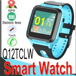 Digital Wrist Gps Australia - Q12TCLW Kids GPS LBS Tracker Safe Smart Watch Location SOS SIM Call Kids Digital Watch Two-way Torch for IOS Android Q50 Smart Watches XQ12
