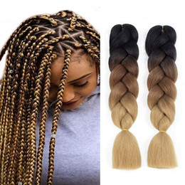 cheap crochet hair UK - Cheap 24inch ombre Colors expression Braids 100g Kanekalon Braiding Hair Synthetic Crochet Box Braids Hair Jumbo Braids