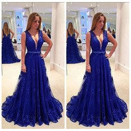 $enCountryForm.capitalKeyWord NZ - 2019 Navy Blue Prom Evening Dress A Line V Neck Lace Tulle Belt Floor Length Sleeveless Backless Pageant Formal Party Maid Of Honor Dress