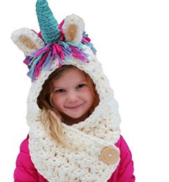 fecff9712bc Kids Knitted Unicorn Caps with short scarf 2 in 1 Girls Infant Warm Knitted  Hats warmer Winter Beanie Hat Tassels caps for 3-12T