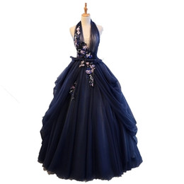 victoria cosplay NZ - Free ship halter navy veil ball gown medieval dress princess Medieval Renaissance Gown queen cosplay Victoria dress.