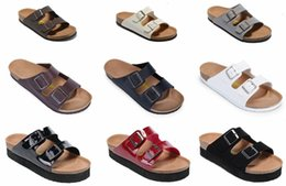 Wholesale 2018 Hot sell Arizona summer Women and men flats sandals Cork slippers unisex casual shoes print mixed colors size