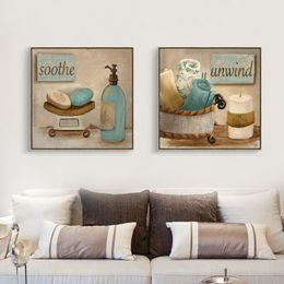 Ingrosso 2 pezzo tela morbida Impressionismo arte semplice vita arte Retro Bagno immagine della parete della decorazione della casa moderna olio su tela stampe