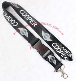 Bir arabanın karizması Cooper Mini Lanyard Anahtarlık Anahtarlık Yaka Kartı cep telefonu tutucu Boyun Askısı siyah.