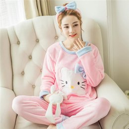 Discount blue bear suit - Winter Women Pajamas Sets Coral Velvet Suit Flannel Cartoon Bear Animal Pants Autumn Thick Warm Long Sleeve Female Sleep