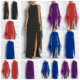 bat sleeve style tops Canada - European Style Bat Sleeve Chiffon Pure High Waist Sleeve Top Dress Queen Dress Red, Purple, Black Support Mixed Batch