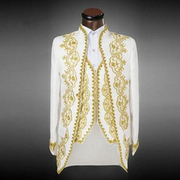 Cool Suit Lapels Australia - Cool 3 Piece Embroider Ivory Groomsmen Mandarin Lapel Groom Tuxedos Men Suits Wedding Prom Dinner Best Man Blazer(Jacket+Pants+Tie+Vest)AA