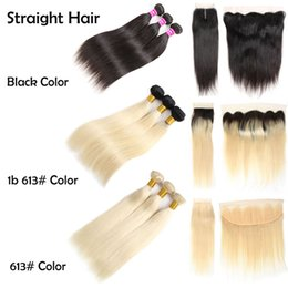 cheap closures Canada - Cheap Brazilian Virgin Hair Straight 1B 613 Human Hair Bundles With Closures Black Color Weave Bundles With Frontal Remy Hair Extensions